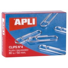 APLI CLIPS PLATEADOS  Nº 4 - 50MM CAJA DE 80 -10