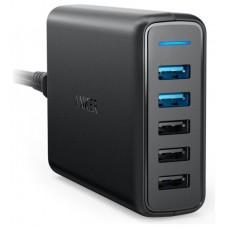 ADAPTADOR CORRIENTE ANKER POWERPORT SPEED 5 63W 5x USB NEGRO